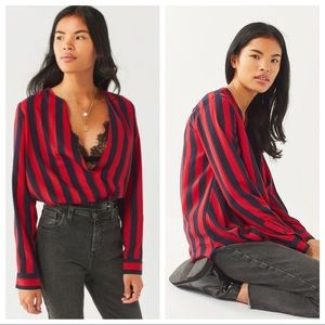 NWT Urban Outfitters Red & Navy Longline Top S